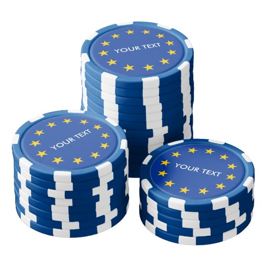 Custom European Union flag poker chips for Europe
