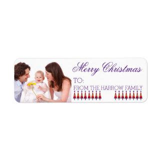Custom Family Christmas Gift Photo Label Purple Return Address Label
