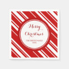 Custom Family Christmas Red Stripes Napkins Paper Napkin