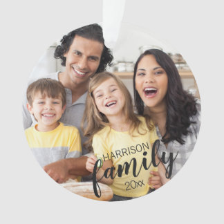 Custom FAMILY (dark text) 2-Photo Keepsake Ornament