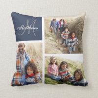 Custom Family Monogram Photo Collage Pillow