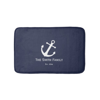 Custom Family Name and Est. Nautical Bath Mat