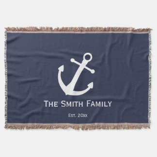 Custom Family Name and Established Blue Nautical Throw Blanket