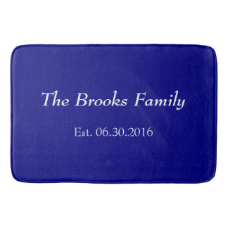 Custom Family Name and Established Date in Navy Bath Mat