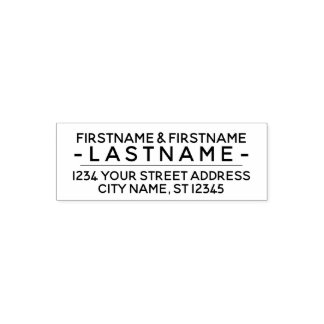 Custom Family Name and Return Address Modern Block Self-inking Stamp