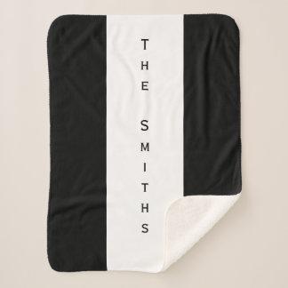 Custom Family Name Black and White Sherpa Blanket