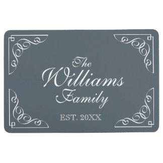 Custom family name est. decorative gray floor mat