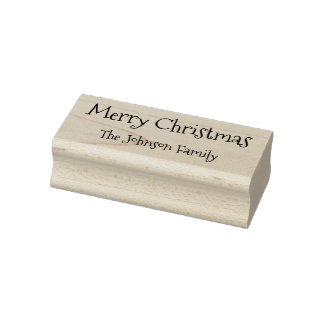 Custom Family Name Merry Christmas Happy Holidays Rubber Stamp