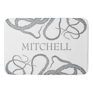 Custom family name nautical octopus kraken II Bath Mats