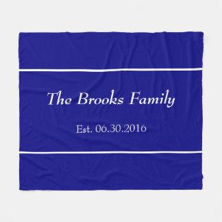Custom Family Name Navy Blue Date Established Fleece Blanket