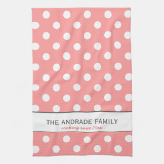Custom Family Name on Pink Polka Dot Kitchen Towel