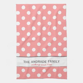 Custom Family Name on Pink Polka Dot Kitchen Towel