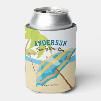 Custom Family Name Summer Beach Vacation Can Cooler