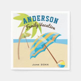 Custom Family Name Summer Beach Vacation Paper Napkin