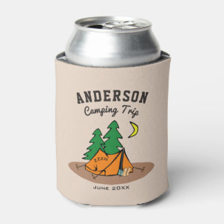 Custom Family Name Summer Vacation Camping Trip Can Cooler