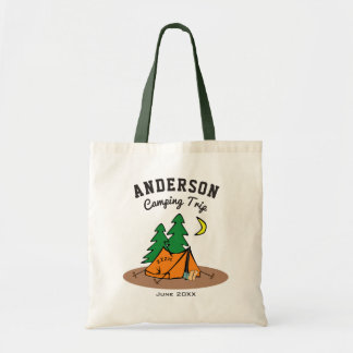 Custom Family Name Summer Vacation Camping Trip Tote Bag