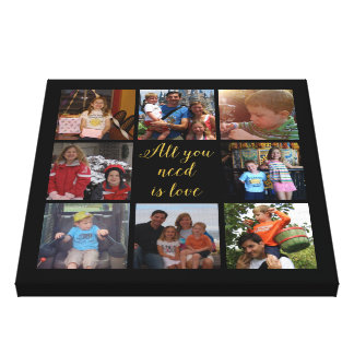 """Custom family photo collage """"All you need is love"""" Canvas Print"""
