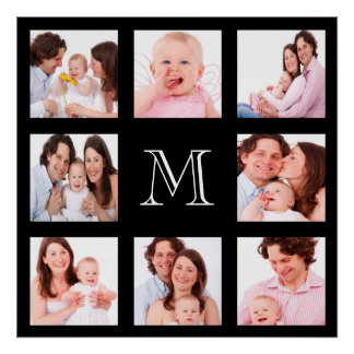 Custom Family Photo Collage Monogram Poster