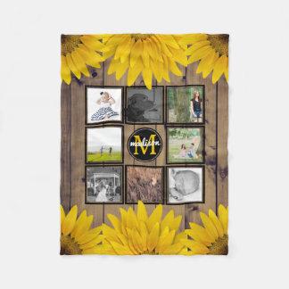 Custom Family Photo Collage Rustic Sunflowers Wood Fleece Blanket