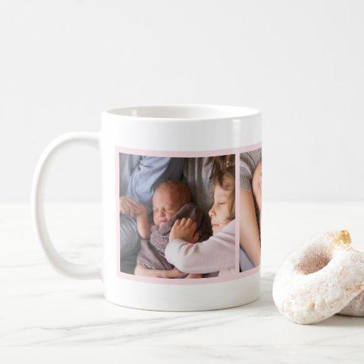Image of Custom Family Photo Modern Blush Pink Frame Coffee Mug