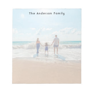 Custom family photo on beach notepad