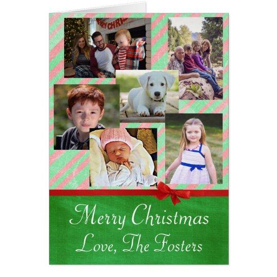 Custom Family Photo Red Green Christmas Card