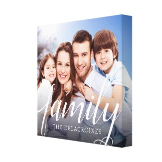 Custom Family Portrait Photo Handwriting Canvas Print