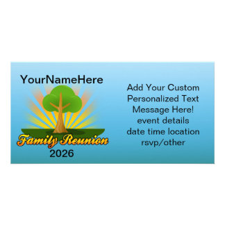 Custom Family Reunion, Green Tree with Sun Rays Photo Greeting Card