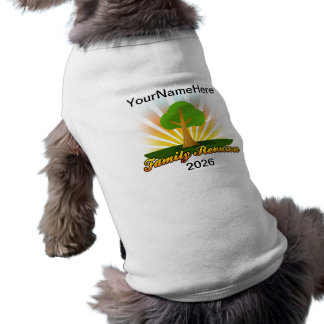 Custom Family Reunion, Green Tree with Sun Rays Sleeveless Dog Shirt