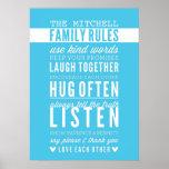 CUSTOM FAMILY RULES modern typography aqua blue