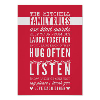 CUSTOM FAMILY RULES modern typography bright red Poster