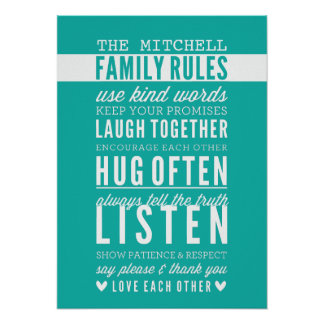 CUSTOM FAMILY RULES modern typography jade green Poster