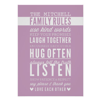 CUSTOM FAMILY RULES modern typography pale purple Poster