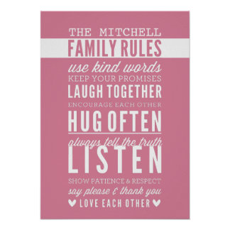 CUSTOM FAMILY RULES modern typography rose pink Poster