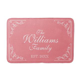 Custom family surname est. coral pink bath mat