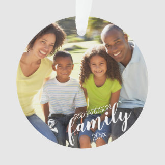 Custom FAMILY (white text) 2-Photo Keepsake Ornament