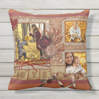 Custom Fancy Photo Frame Autumn Scrapbook Glittery Cushion