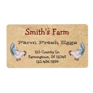 Custom Farm Fresh Eggs Chickens Label