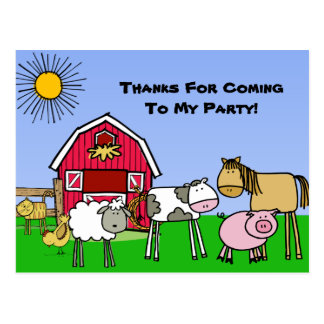 Custom Farm Theme Birthday Thank You Postcard