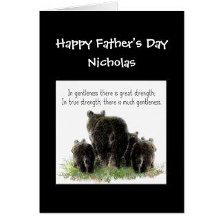 Custom Father's Day Poppa Bear Wife & Kids Humor Greeting Card