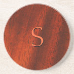 Custom Faux Cherry Wood Monogram Coaster