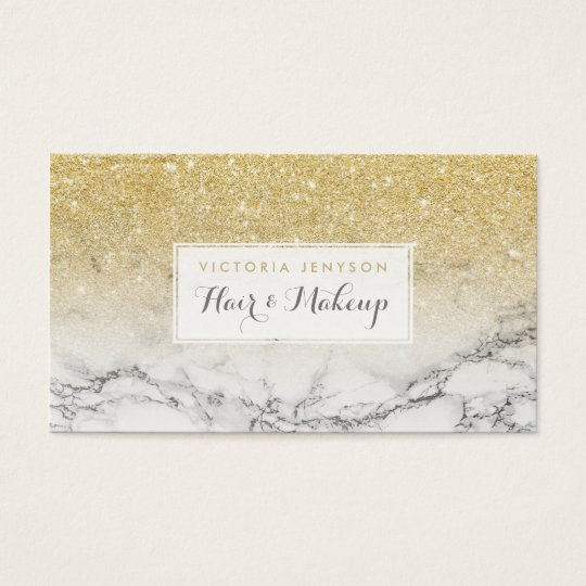 Custom faux gold glitter ombre white marble makeup