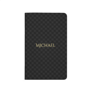 Custom Faux Gold Name Black Check Pattern Pocket Journal