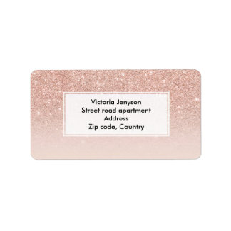 Custom faux rose pink glitter ombre address label