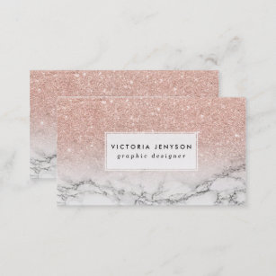 Marble business cards zazzle uk custom faux rose pink glitter ombre white marble business card reheart Image collections