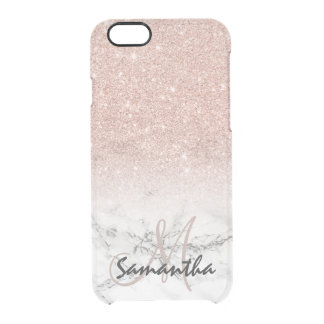 Custom faux rose pink glitter ombre white marble clear iPhone 6/6S case
