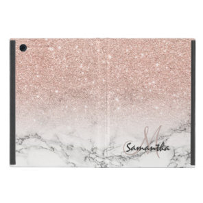 Custom faux rose pink glitter ombre white marble cover for iPad mini