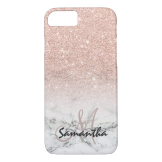 Custom faux rose pink glitter ombre white marble iPhone 8/7 case