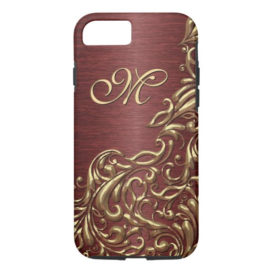 Custom Faux Shiny Gold Floral Swirl Pattern iPhone