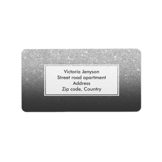 Custom faux silver glitter ombre address label